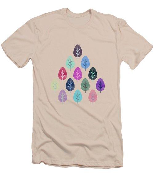 Watercolor Forest Pattern II Men's T-Shirt (Slim Fit) by Amir Faysal