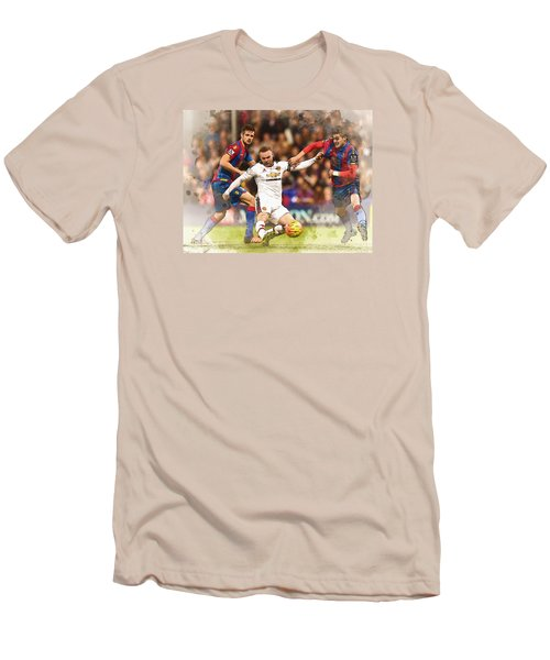 Wayne Rooney Shoots At Goal Men's T-Shirt (Slim Fit) by Don Kuing