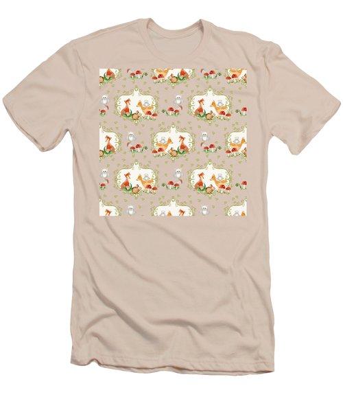 Woodland Fairy Tale -  Warm Grey Sweet Animals Fox Deer Rabbit Owl - Half Drop Repeat Men's T-Shirt (Slim Fit) by Audrey Jeanne Roberts