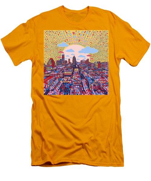 Austin Texas Abstract Panorama 2 Men's T-Shirt (Slim Fit) by Bekim Art