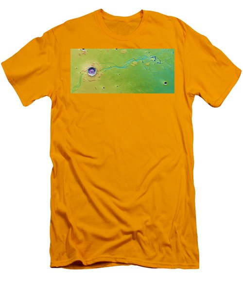 Men's T-Shirt (Slim Fit) featuring the photograph Hephaestus Fossae, Mars by Science Source