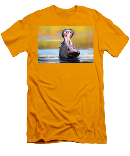 Hippopotamus Displaying Aggressive Behavior Men's T-Shirt (Slim Fit) by Johan Swanepoel