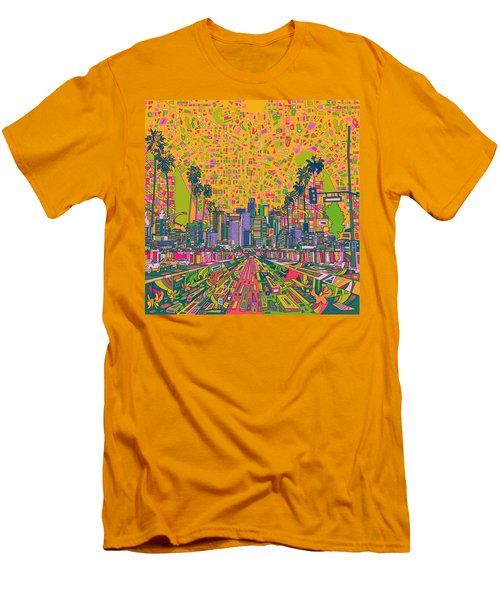 Los Angeles Skyline Abstract Men's T-Shirt (Slim Fit) by Bekim Art