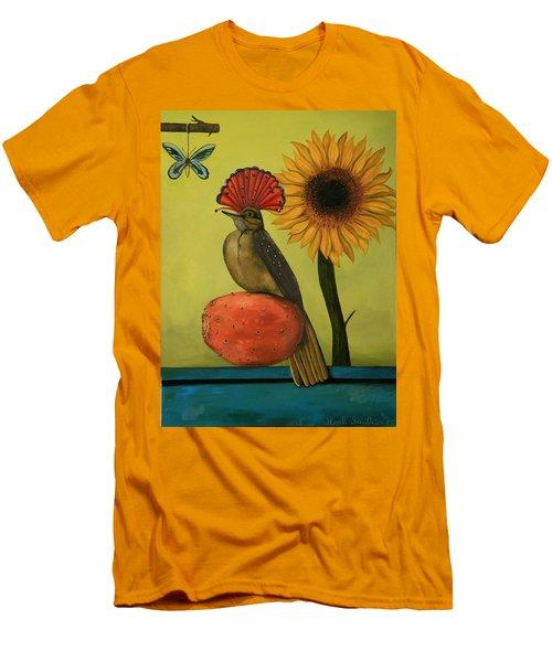 Royal Flycatcher  Men's T-Shirt (Slim Fit) by Leah Saulnier The Painting Maniac