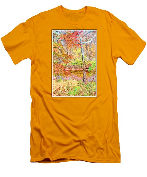 Men's T-Shirt (Slim Fit) featuring the photograph  Woods In Autumn Montgomery Cty Pennsylvania by A Gurmankin