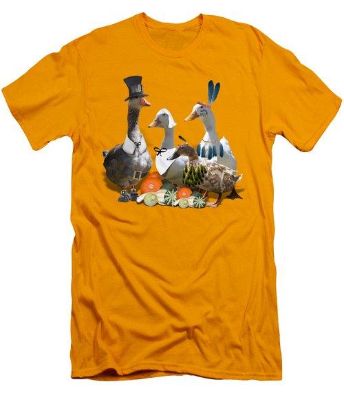 Thanksgiving Ducks Men's T-Shirt (Slim Fit) by Gravityx9 Designs
