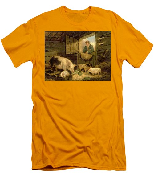 A Boy Looking Into A Pig Sty Men's T-Shirt (Slim Fit) by George Morland