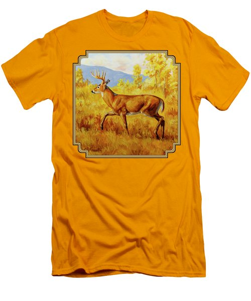 Whitetail Deer In Aspen Woods Men's T-Shirt (Slim Fit) by Crista Forest