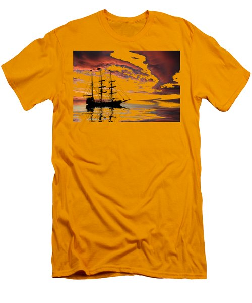 Pirate Ship At Sunset Men's T-Shirt (Slim Fit) by Shane Bechler