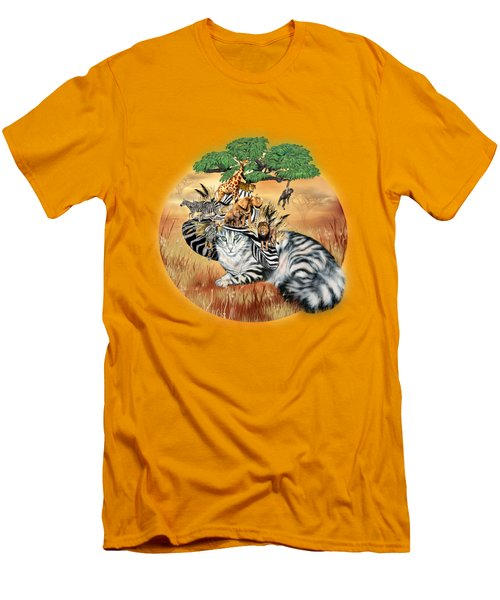 Cat In The Safari Hat Men's T-Shirt (Slim Fit) by Carol Cavalaris