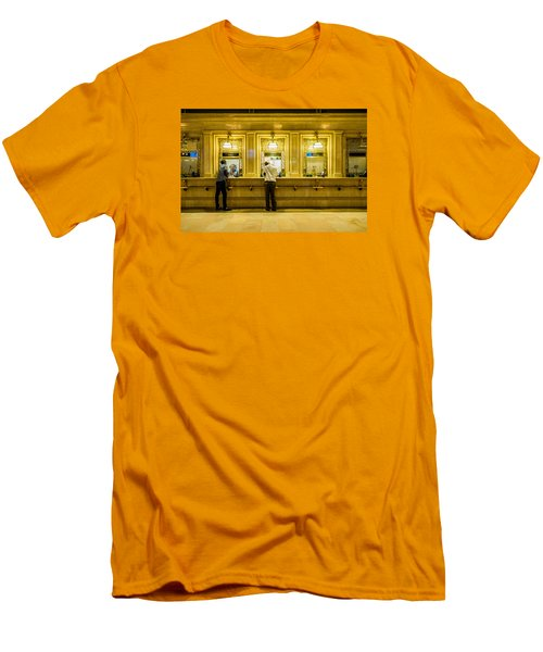 Men's T-Shirt (Slim Fit) featuring the photograph Buying A Ticket by M G Whittingham
