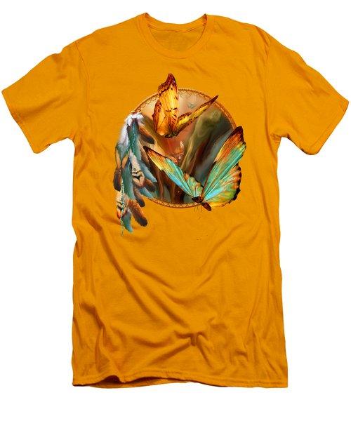 Dream Catcher - Spirit Of The Butterfly Men's T-Shirt (Slim Fit) by Carol Cavalaris