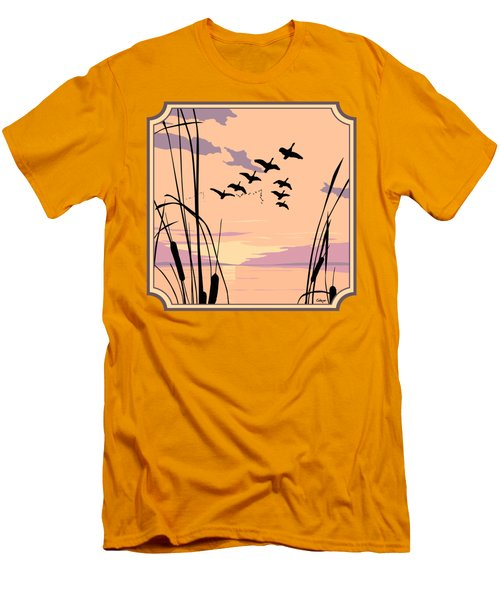 Ducks Flying Over The Lake Abstract Sunset - Square Format Men's T-Shirt (Slim Fit) by Walt Curlee