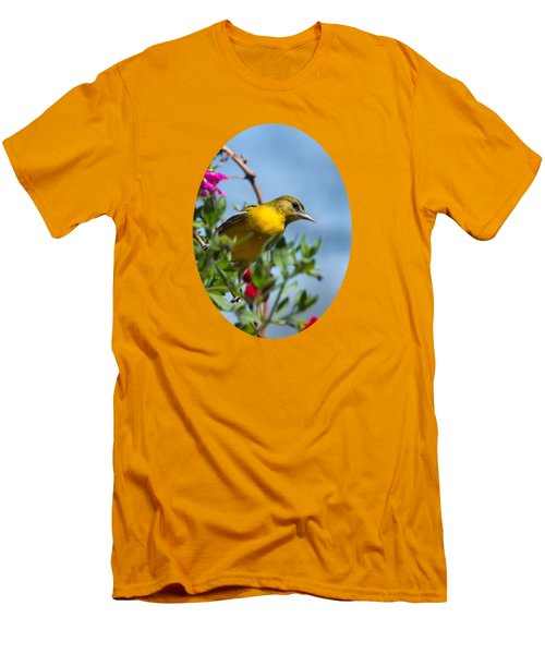 Female Baltimore Oriole In A Flower Basket Men's T-Shirt (Slim Fit) by Christina Rollo