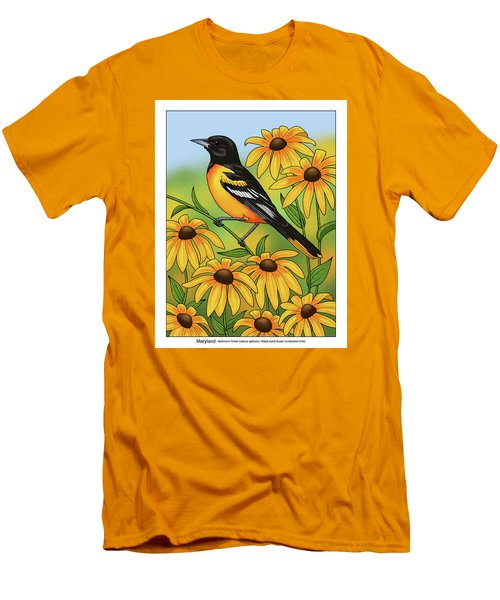 Maryland State Bird Oriole And Daisy Flower Men's T-Shirt (Slim Fit) by Crista Forest