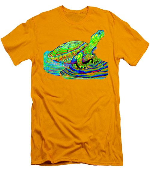 Painted Turtle Men's T-Shirt (Slim Fit) by Rebecca Wang