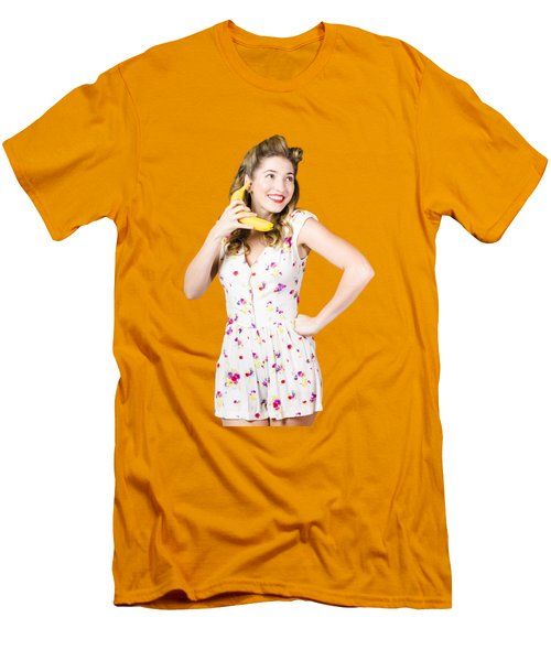 Retro Pin Up Girl Chatting On Banana Telephone Men's T-Shirt (Slim Fit) by Jorgo Photography - Wall Art Gallery