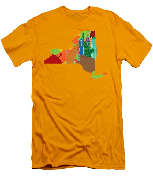 State Of New York Official Map Symbols Men's T-Shirt (Slim Fit) by Jit Lim