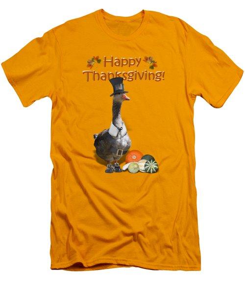 Thanksgiving Pilgrim Goose Men's T-Shirt (Slim Fit) by Gravityx9  Designs