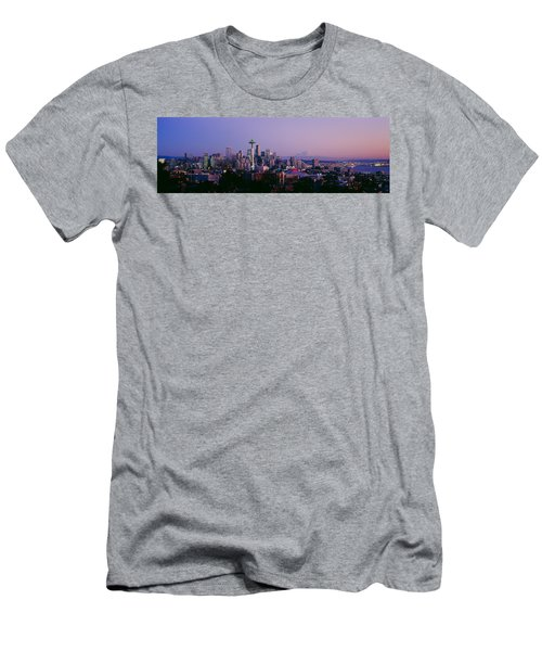 High Angle View Of A City At Sunrise Men's T-Shirt (Slim Fit) by Panoramic Images