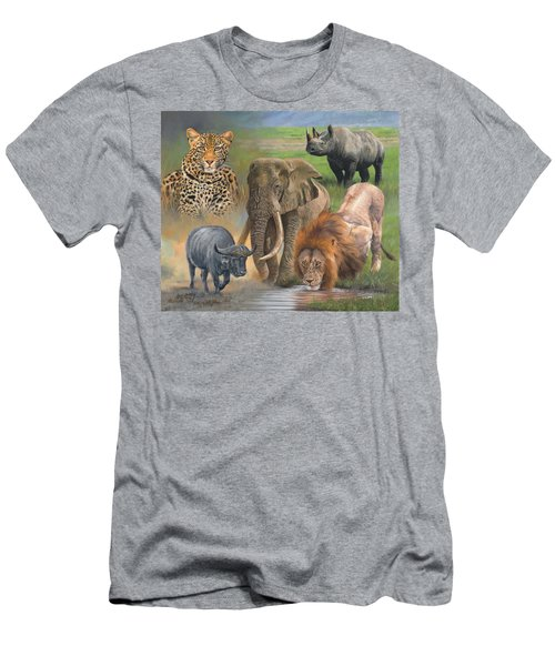 Africa's Big Five Men's T-Shirt (Slim Fit) by David Stribbling