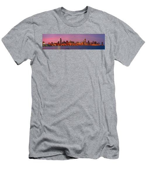 Chicago Skyline At Dusk 2008 Panorama Men's T-Shirt (Slim Fit) by Jon Holiday