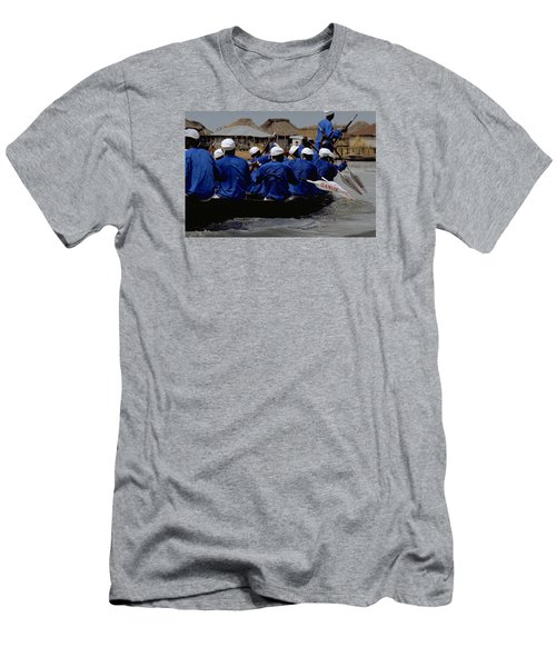Men's T-Shirt (Slim Fit) featuring the photograph Ganvie - Lake Nokoue by Travel Pics