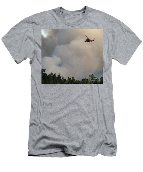 Men's T-Shirt (Slim Fit) featuring the photograph K-max Helicopter On Myrtle Fire by Bill Gabbert