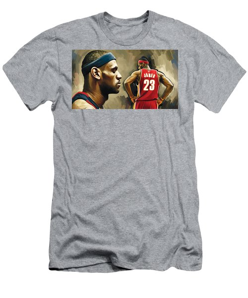 Lebron James Artwork 1 Men's T-Shirt (Slim Fit) by Sheraz A