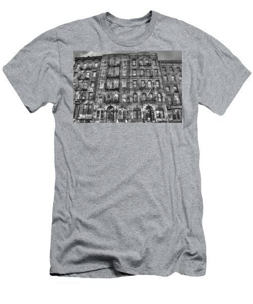 Led Zeppelin Physical Graffiti Building In Black And White Men's T-Shirt (Slim Fit) by Randy Aveille