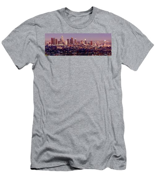 Los Angeles Skyline At Dusk Men's T-Shirt (Slim Fit) by Jon Holiday