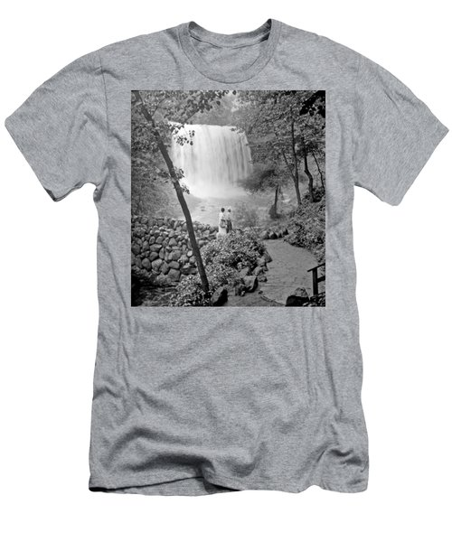 Men's T-Shirt (Slim Fit) featuring the photograph Minnehaha Falls Minneapolis Minnesota 1915 Vintage Photograph by A Gurmankin