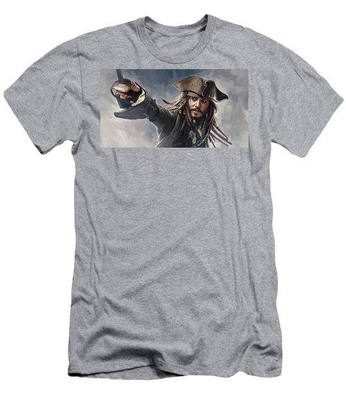 Pirates Of The Caribbean Johnny Depp Artwork 2 Men's T-Shirt (Slim Fit) by Sheraz A