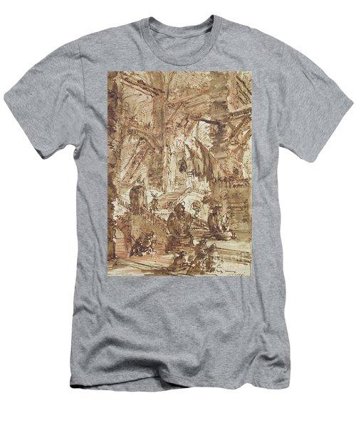 Preparatory Drawing For Plate Number Viii Of The Carceri Al'invenzione Series Men's T-Shirt (Slim Fit) by Giovanni Battista Piranesi