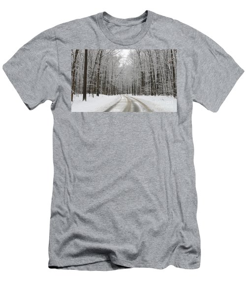 Snowy Road In Oak Openings 7058 Men's T-Shirt (Slim Fit) by Jack Schultz
