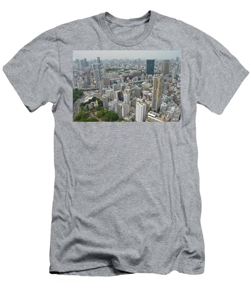 Tokyo Intersection Skyline View From Tokyo Tower Men's T-Shirt (Slim Fit) by Jeff at JSJ Photography