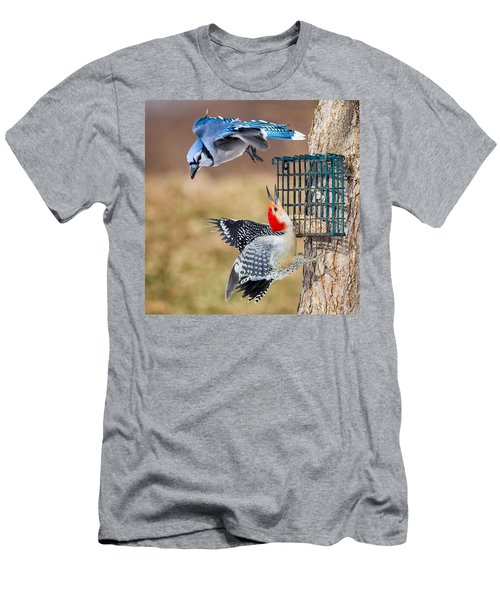 Woodpeckers And Blue Jays Square Men's T-Shirt (Slim Fit) by Bill Wakeley