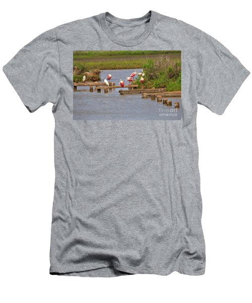 Roseate Spoonbills And Snowy Egrets Men's T-Shirt (Slim Fit) by Louise Heusinkveld
