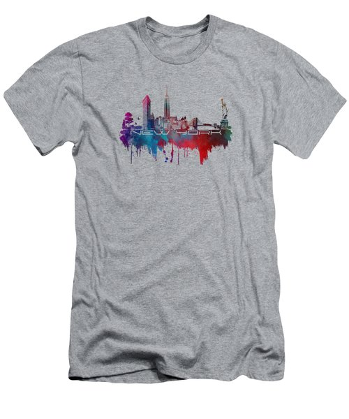 New York City Skyline Blue Men's T-Shirt (Slim Fit) by Justyna JBJart