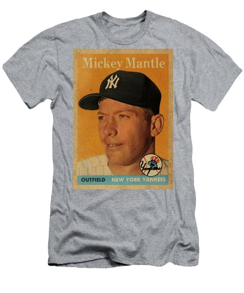 1958 Topps Baseball Mickey Mantle Card Vintage Poster Men's T-Shirt (Slim Fit) by Design Turnpike