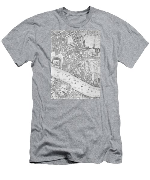 A Map Of The Tower Of London Men's T-Shirt (Slim Fit) by John Rocque