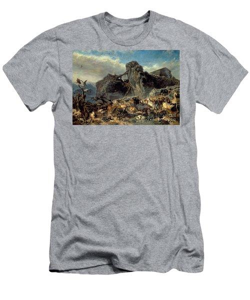Animals Leaving The Ark, Mount Ararat  Men's T-Shirt (Slim Fit) by Filippo Palizzi
