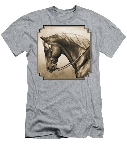 Western Horse Painting In Sepia Men's T-Shirt (Slim Fit) by Crista Forest