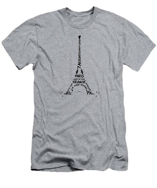 Digital Art Eiffel Tower Pattern Men's T-Shirt (Slim Fit) by Melanie Viola