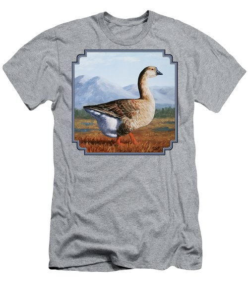 Brown Chinese Goose Men's T-Shirt (Slim Fit) by Crista Forest