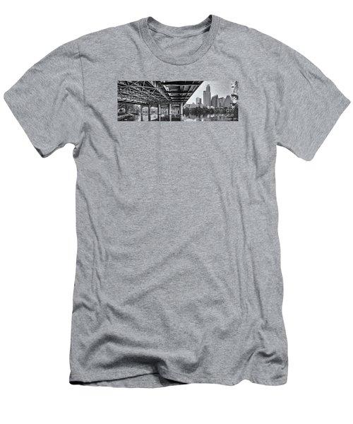 Black And White Panorama Of Downtown Austin Skyline Under The Bridge - Austin Texas  Men's T-Shirt (Slim Fit) by Silvio Ligutti