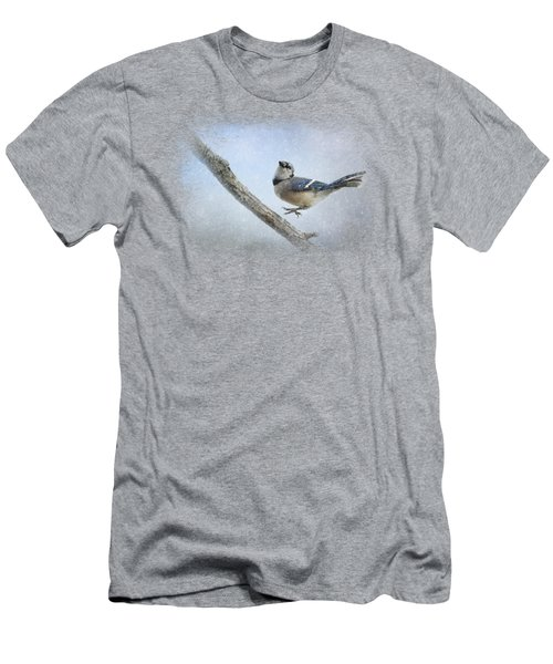 Blue Jay In The Snow Men's T-Shirt (Slim Fit) by Jai Johnson