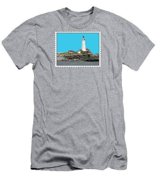 Boston Harbor Lighthouse Men's T-Shirt (Slim Fit) by Elaine Plesser