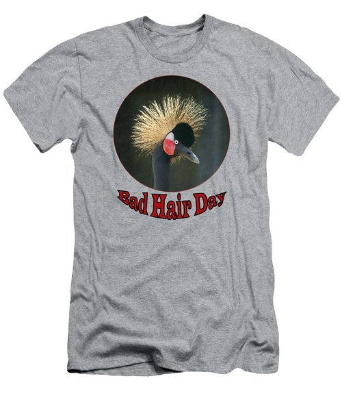 Crowned Crane - Bad Hair Day - Transparent Men's T-Shirt (Slim Fit) by Nikolyn McDonald