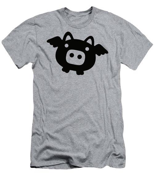 Flying Pig - Black Men's T-Shirt (Slim Fit) by Julia Jasiczak